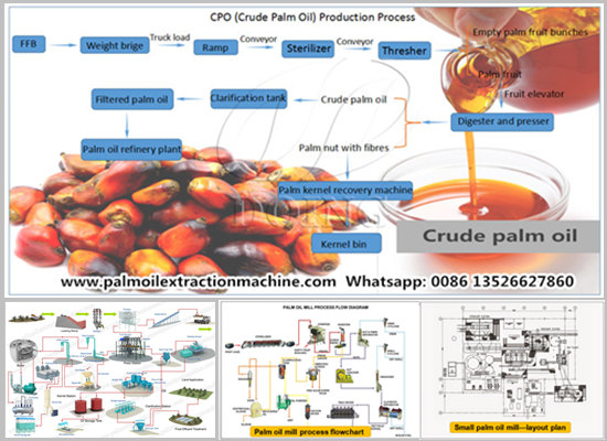Process flow diagram of palm oil mill plant