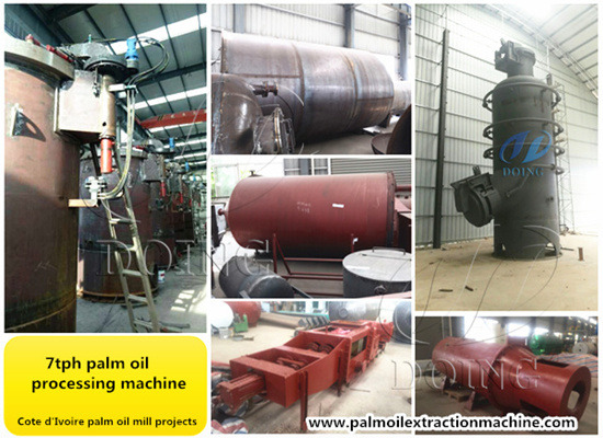 Machines used in Cote d'Ivoire palm oil mill plant project are in production