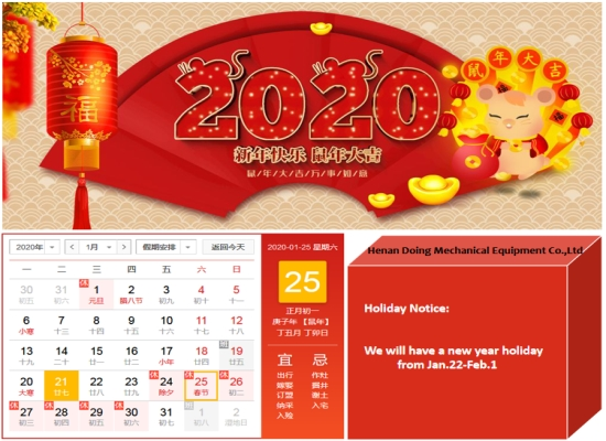 Holiday arrangement of Chinese New Year 2020 of Henan Doing Machinery